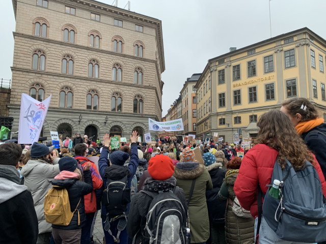 Protesting students in Stockholm