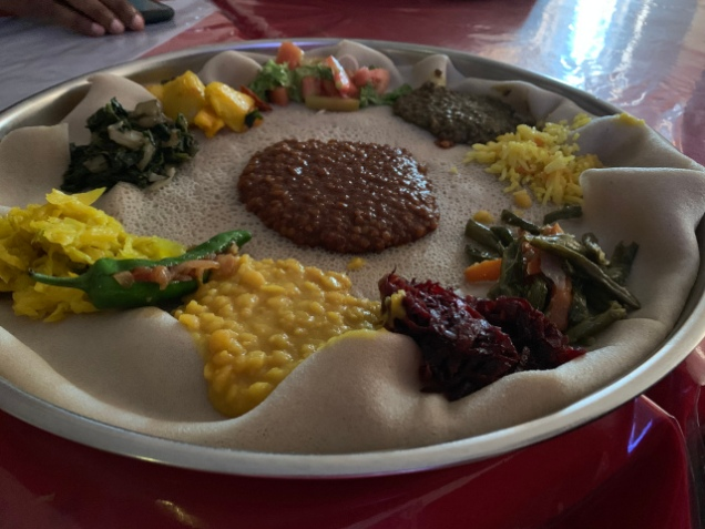 Traditional Ethiopian lunch