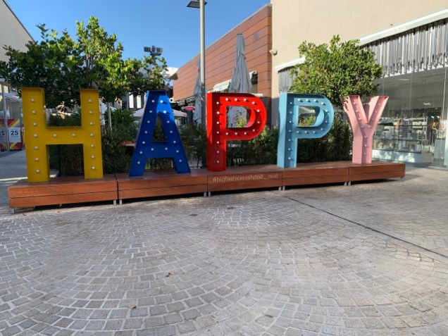 Happy sign in Israel Mall